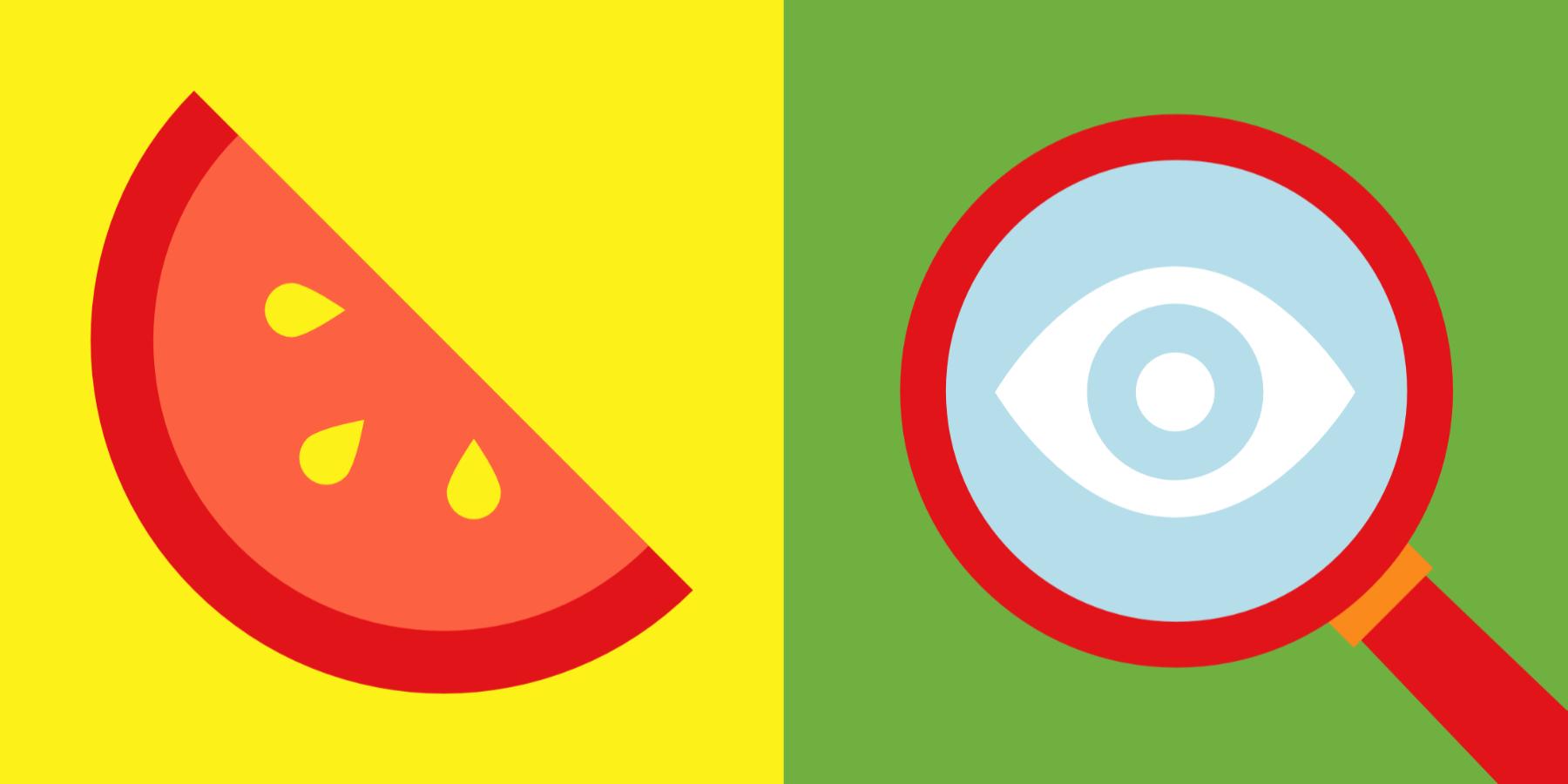 Illustratie meloen en vergrootglas