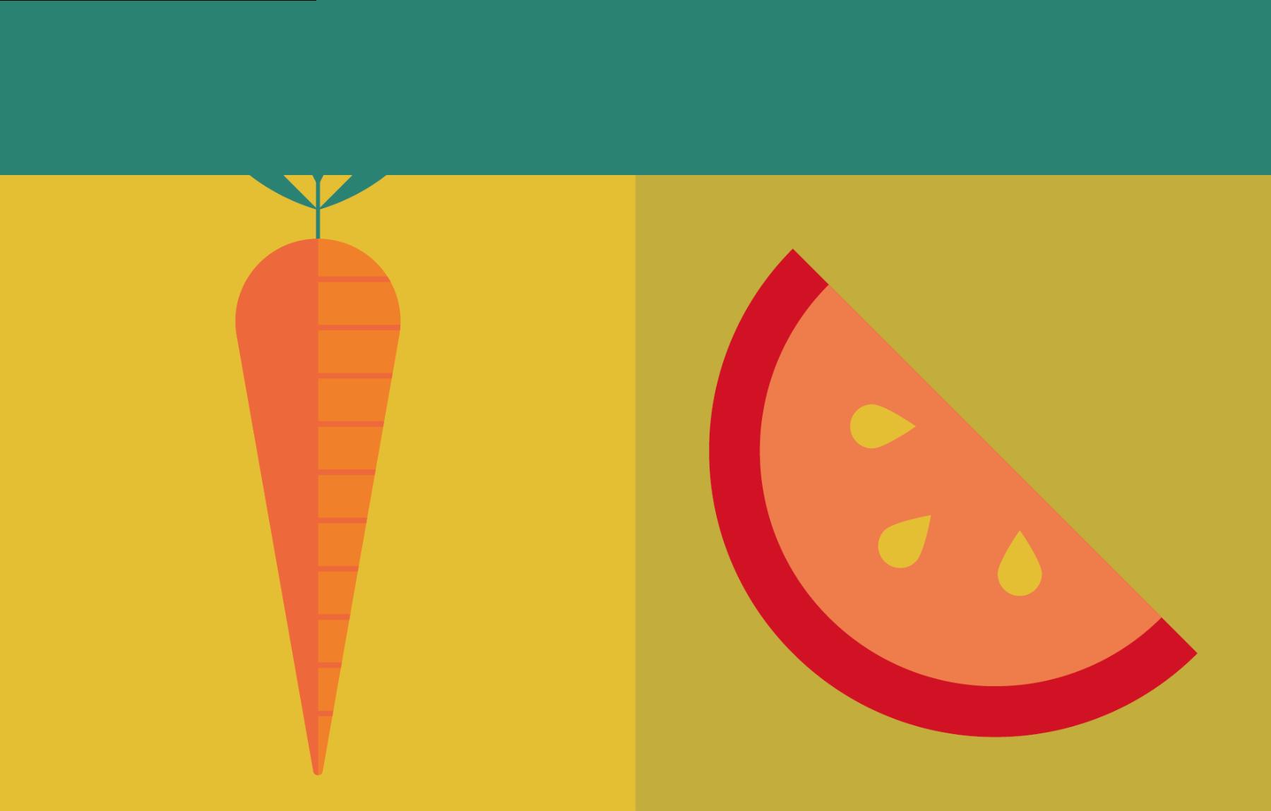 Illustratie wortel en tomaat